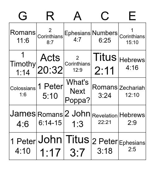 Growing in Grace! Bingo Card