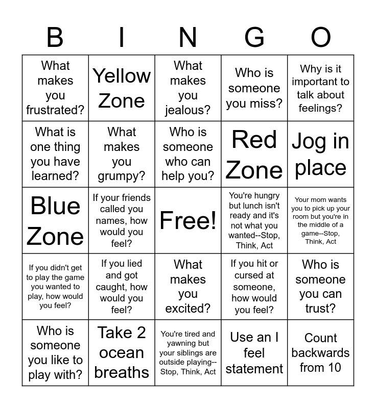 Triggers and Coping Skills Bingo Card