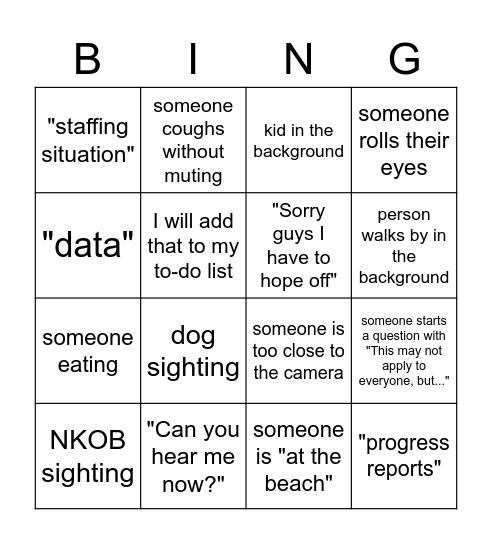 Zoom Staff Meeting Bingo Card