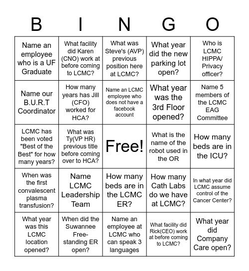 LCMC BINGO Trivia Bingo Card