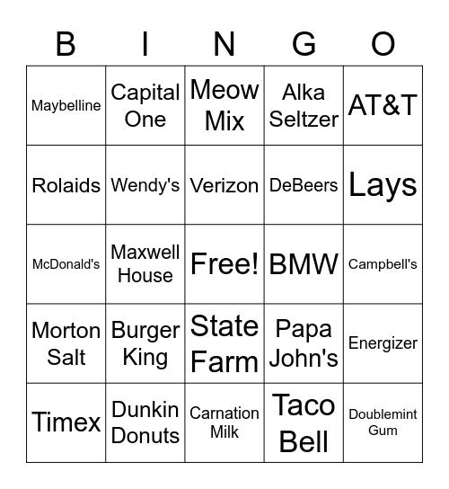 FAMOUS SLOGANS Bingo Card