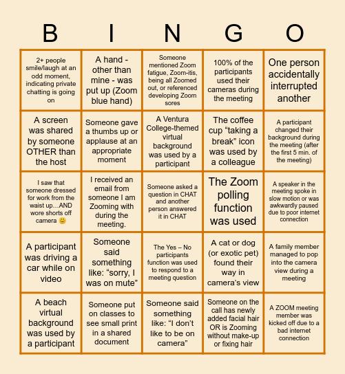 ZOOM meeting BINGO at Ventura College Bingo Card