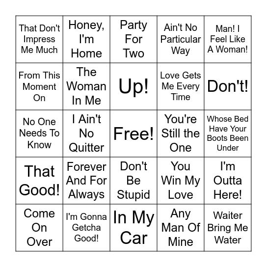 Shania Twain Bingo Card