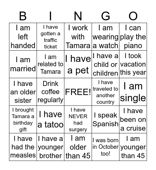 Tamara's 45th Birthday !! Bingo Card