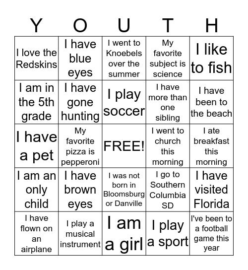 Youth Bingo Card