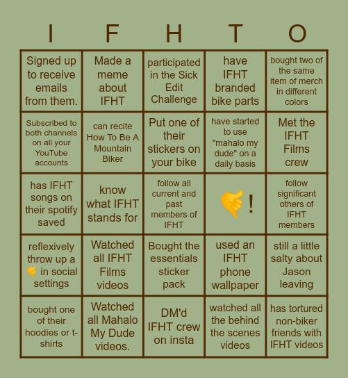 IFHT Fan Bingo Card