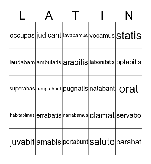 Unit  1 Review First Form Latin Bingo Card