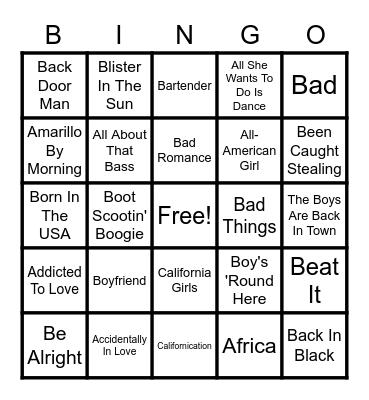 1970's Bingo Card