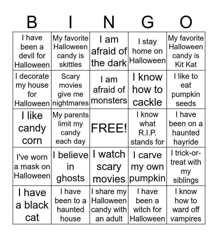 Spooky Halloween Bingo Card