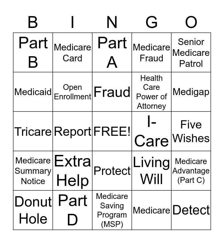 MEDICARE Bingo Card