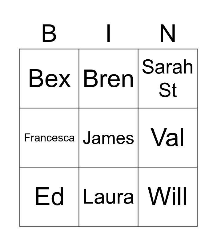 Street Family Bingo Card