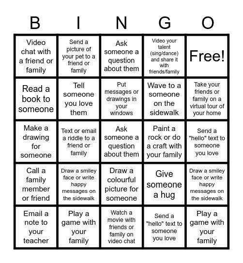 Social Connection Bingo Card