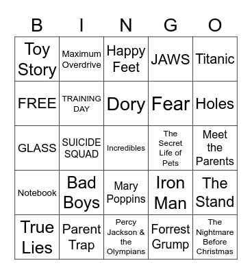 MOVIES!!!!!!! Bingo Card