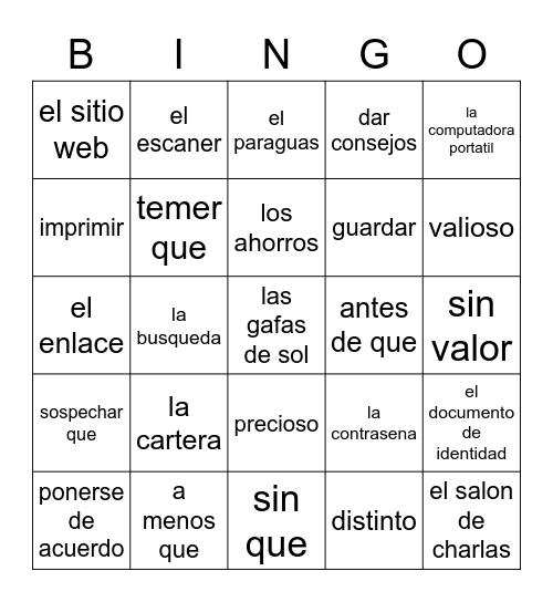 5.1 Vocab Fun Bingo Card