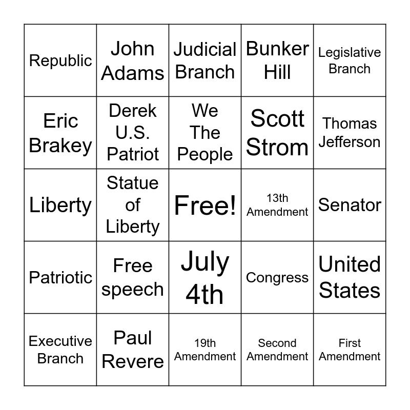Patriot Bingo Card