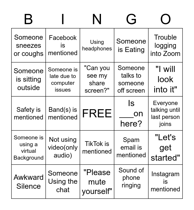 SCFSS Team Building Bingo Card