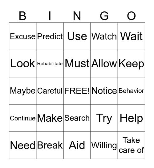 ASL Verb BINGO! Bingo Card