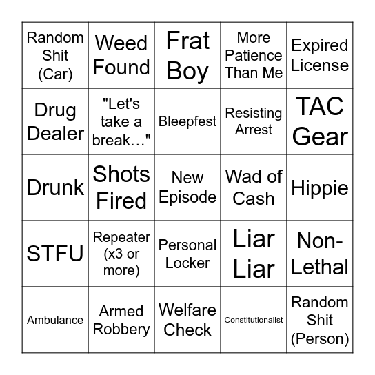 All Crime, All The Time (v6) Bingo Card