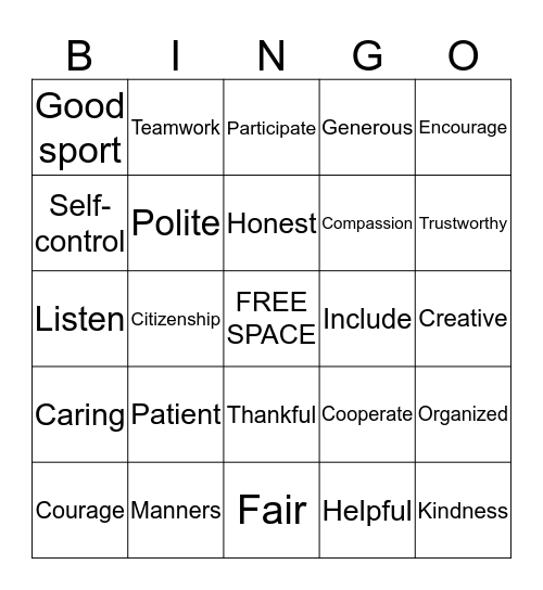 Character Trait Bingo Card