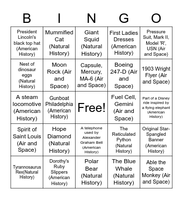 Smithsonian Scavenger Hunt Bingo Card
