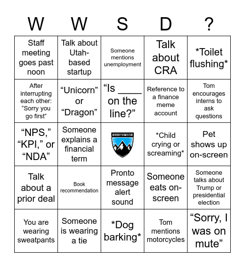 Welcome to UGF! Bingo Card