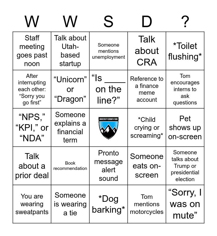 Welcome to UGF! Bingo Card