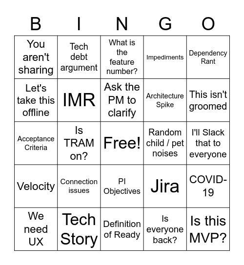 PI Bingo Card