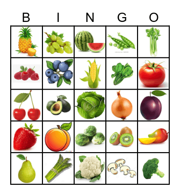 Fruit & Vegetables Bingo Card