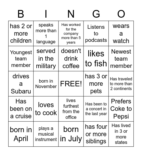 Find someone on your team who... Bingo Card