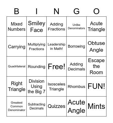 Mrs. Epolite's Math Wizards Bingo Card