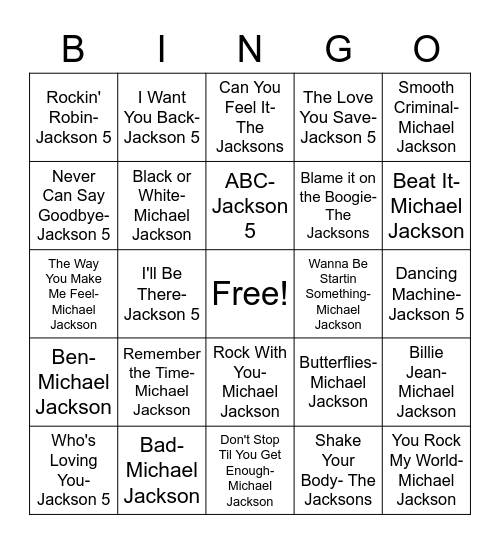 Jackson Bingo! Bingo Card