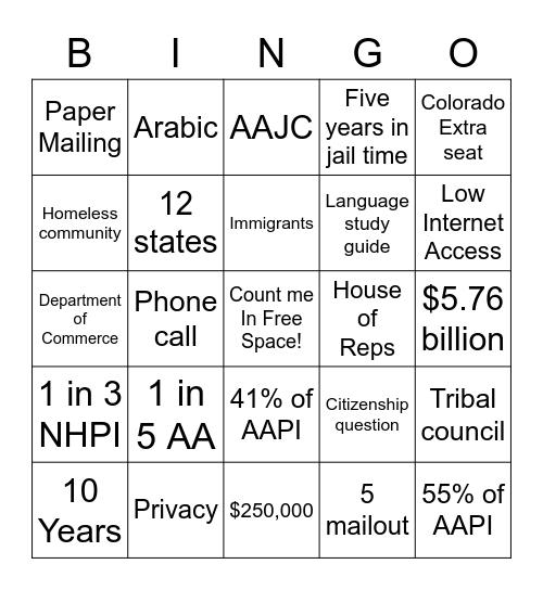 2020 Census Bingo Card