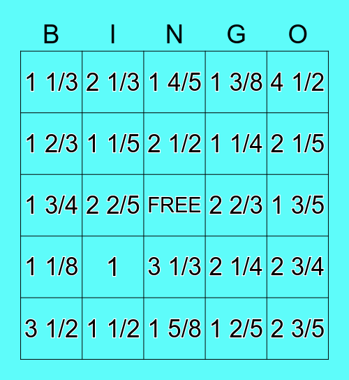 Mixed Numbers Bingo Card