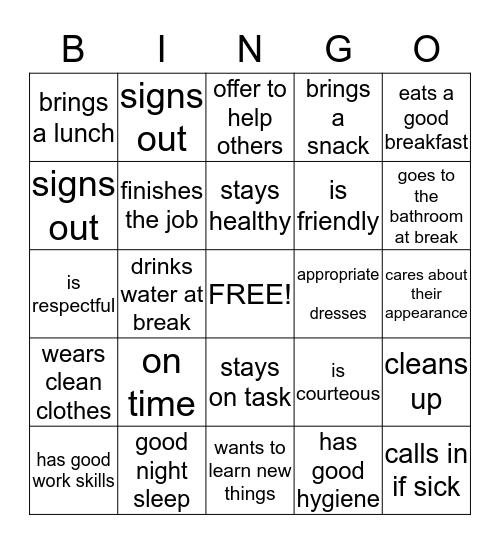 A Good Worker Bingo Card