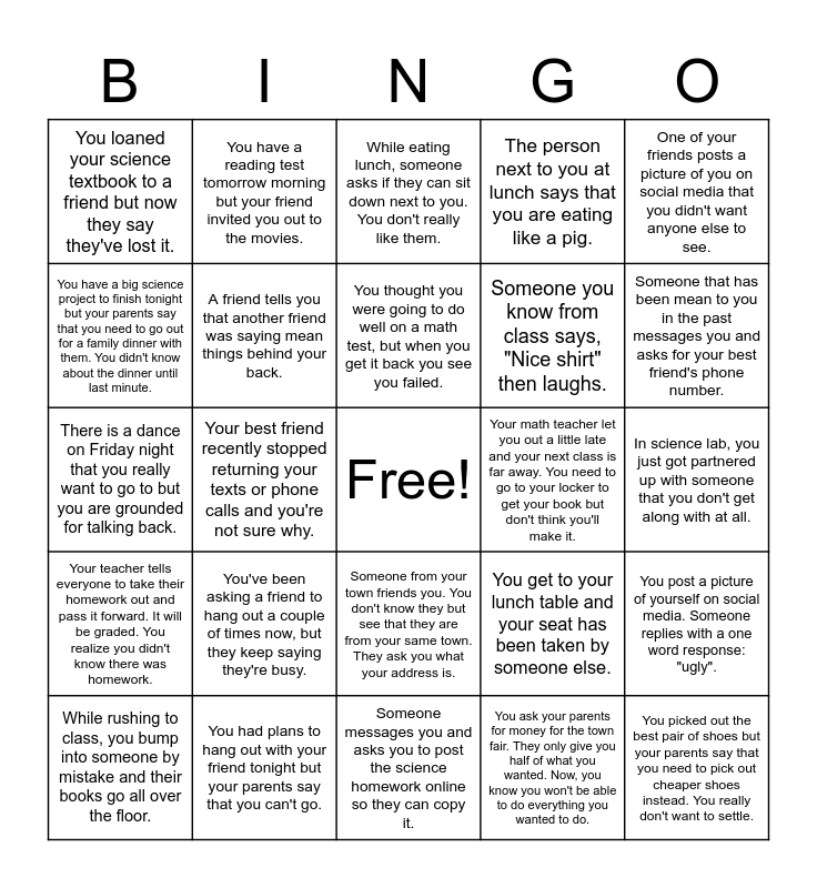 Social Problem Solving Bingo Card
