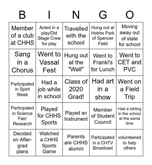 CHHS Senior Bingo Card