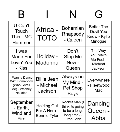 2 Bingo Card