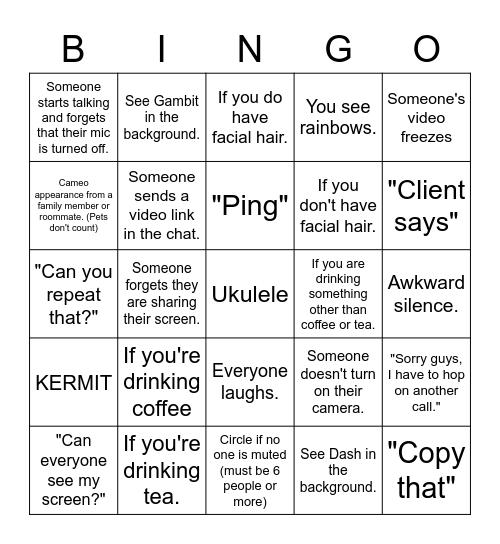 Coffee Wednesday 05/13/2020 Bingo Card