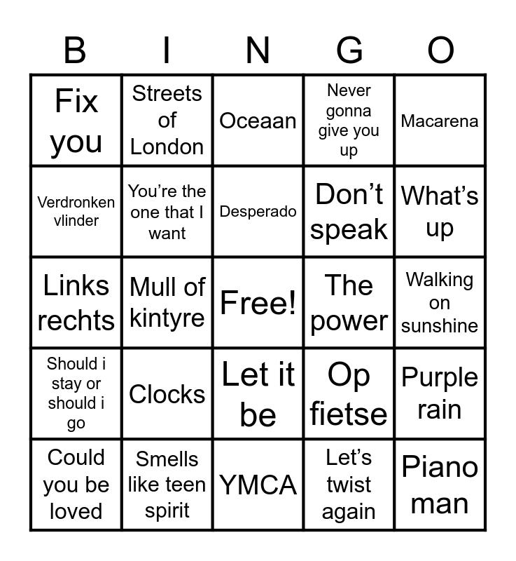 Muziek Bingo 1 Bingo Card