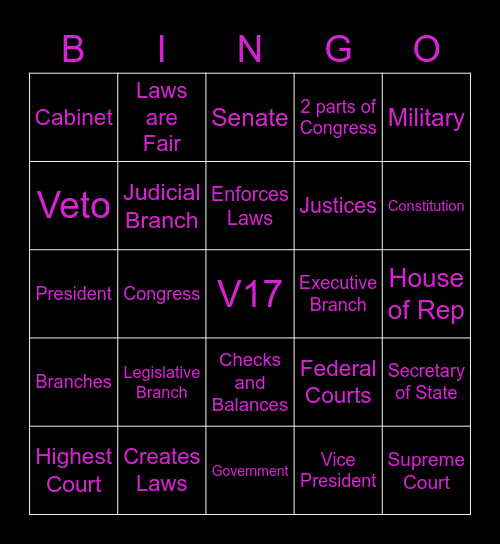 The Three Branches of Government Bingo Card