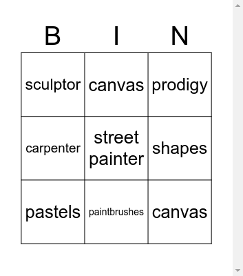Vocabulary Unit 7 Bingo Card