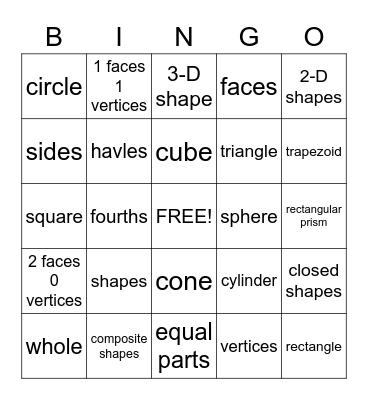 Shapes (Words only) Bingo Card