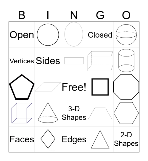 2-D and 3-D Shapes Bingo Card