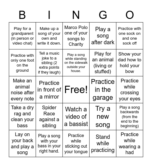 Sam's Practice Bingo: 1 point for each square completed, 5 points for bingo Card