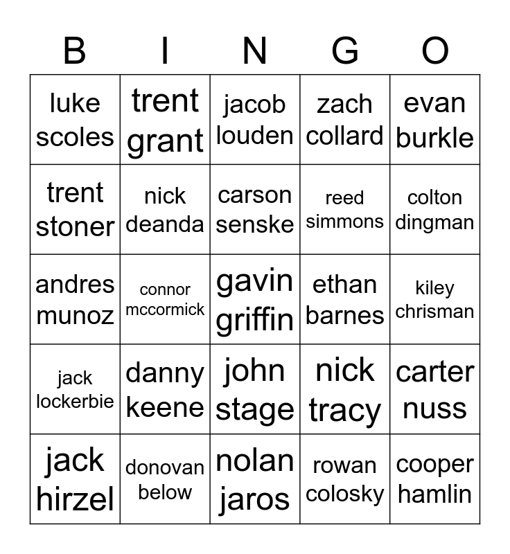 nick deanda Bingo Card