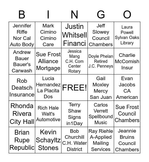 Rotary Member Bingo Card