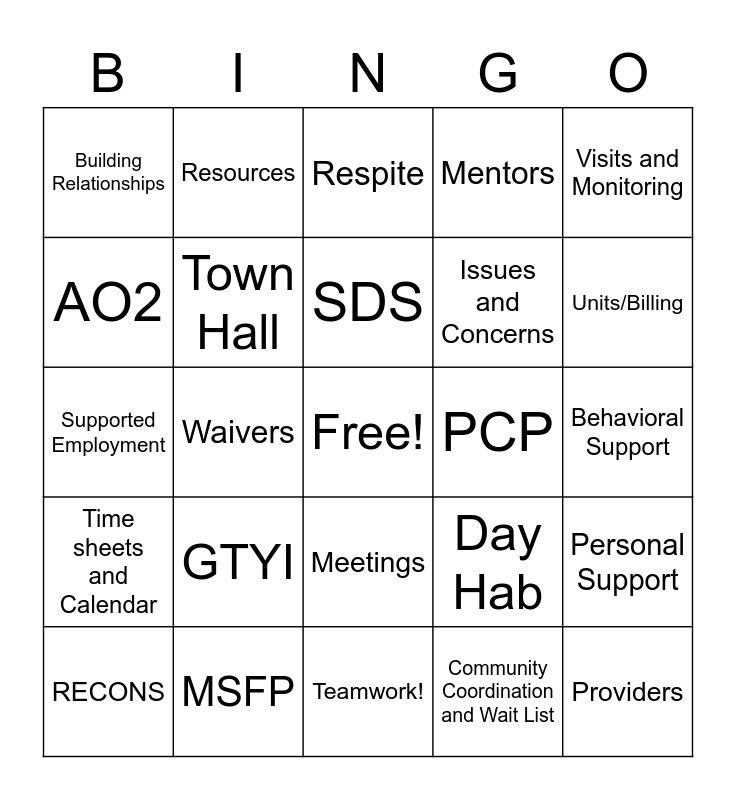 The Day in the Life of a Service Coordinator Bingo Card