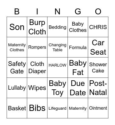 HARLOW'S BABY SHOWER BINGO Card