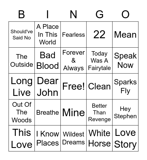 Taylor Swift Bingo Card