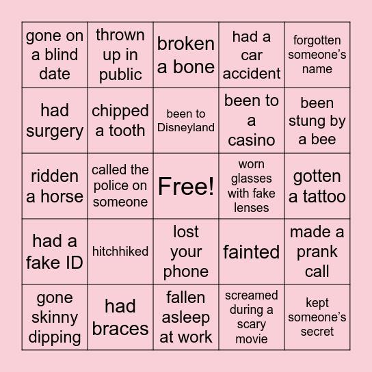 Have I ever... Bingo Card